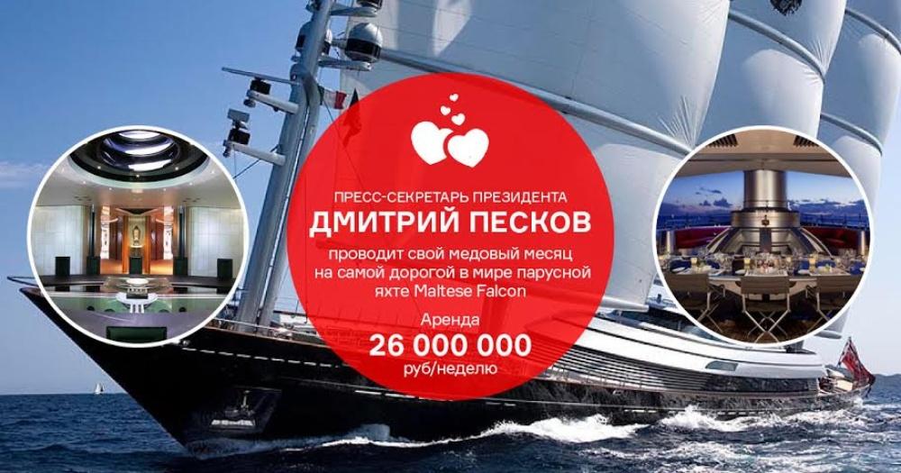 Новые приключения молодожёна-чиновника: яхта Maltese Falcon за 26 млн рублей в неделю